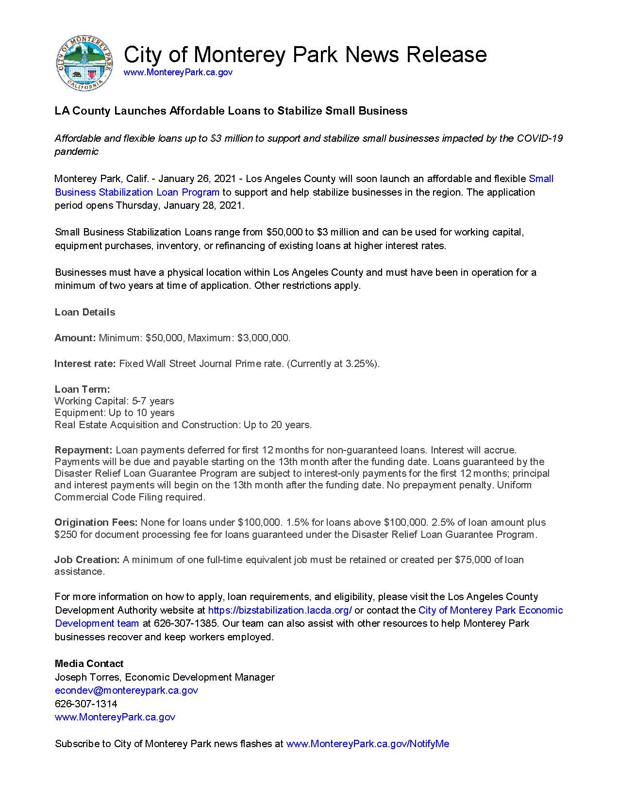 MPK News Release - LA County Small Business Stabilization Loan Program
